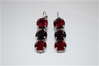 Mariana Triple Tier Style Earrings in Lady in Red with Swarovski Crystals in .925 Silver Plating