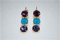 Mariana Triple Tier Style Earrings from the Peacock Collection in Yellow Gold Plating