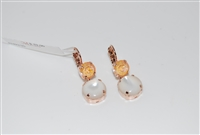 Mariana Double Dangling Earrings from the Sweet Pea Collection in Rose Gold Plating