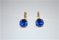 Mariana earrings with Sapphire Swarovski Crystals and Yellow Gold Plated