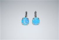 Mariana earrings with Blue Opals and Rhodium Plated (Italian Ice)