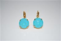 "Mariana ""Monarch"" earring with Light Aqua Opal Swarovski Crystals and Yellow Gold Plated"