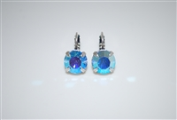 "Mariana ""Monarch"" earring in Light Sapphire Aurora Borealis and .925 Silver Plated"