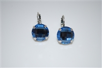 "Mariana ""Monarch"" earring with Large Blue Crosscut Crystals and .925 Silver Plated (Mood Indigo Match)"