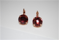 "Mariana ""Monarch"" earring with Burgundy Facet Cut Swarovski Crystals and Rose Gold Plated"