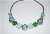 Amazing Mariana Statement Necklace with Green Swarovski Crystals from the Fern Collection and .925 Silver Plated