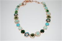 Mariana Statement Necklace from the Fern Collection with Green Swarovski Crystals and Rose Gold Plating