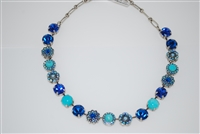 "Mariana ""Sophia"" 19"" Statement Flower Necklace with assorted Blues and Turquoise Swarovski Crystals and .925 Silver Plated"