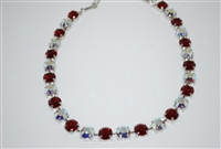 "Mariana ""Bette"" Necklace with Red and AB Swarovski Crystals with Rhodium Plating"