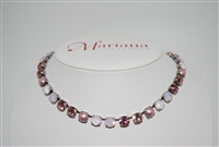 "Mariana ""Bette"" 8"" Crystal Strand Necklace with various pink Swarovski Crystals from the Antigua Collection with .925 Silver Plating"