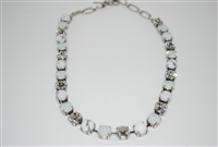 "Mariana ""Bette"" White Howlite Minerals, Clear, and Opal Swarovski Crystals Strand Necklace in .925 Silver Plated"