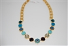 "Mariana ""Diana"" Statement Necklace from the Peacock Collection with Swarovski Crystals and Yellow Gold Plated"