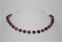 Mariana Necklace with Amethyst Mineral Stones with Rose Gold Plating