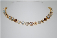 "Mariana 17"" Champagne and Caviar Loren Swarovski Crystal Necklace in Yellow Gold Plating"