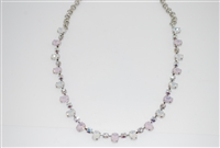 Mariana Dainty Oval Stone Collar Necklace in Snowflake and Rhodium Plating