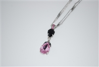 "Mariana 15"" Silver Chain with Rose and Jet Swarovski Crystals from the Peppermint Collection"