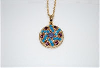 Mariana Tree of Life Pendant from the Peacock Collection with Swarovski Crystals and Yellow Gold Plating