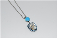 Mariana Tiara Drop Pendant with Swarovski Crystals from the Italian Ice Collection in Silver Plating