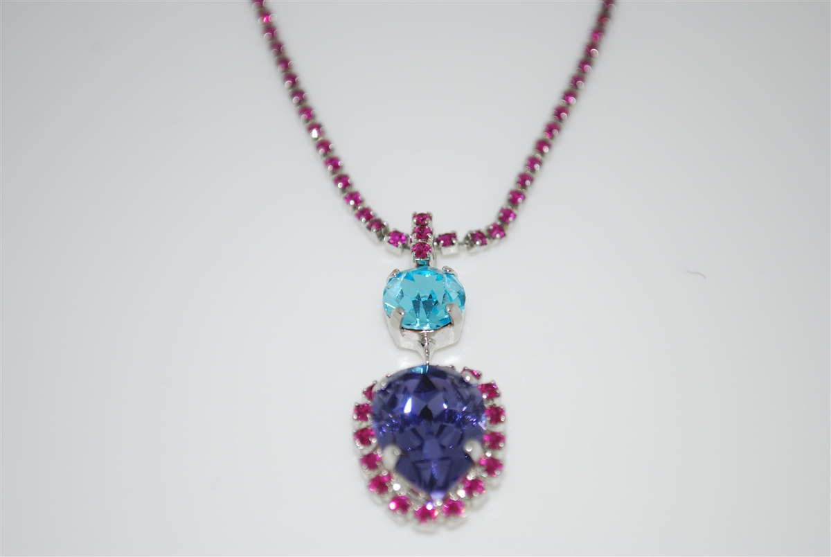 5e96629ed Mariana Tiara Drop Pendant with Swarovski Crystals Necklace from the Cuban  Collection in Fushia, Purple