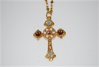 "Longer Chain with this Mariana ""Athena"" Cross Necklace from the Champagne and Cavair Collection made with Swarovski Crystals and Gold Plated"