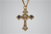 "Mariana ""Athena"" Cross Necklace from the Seashell Collection made with Swarovski Crystals and Yellow Gold Plated"