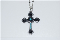"Long Mariana ""Athena"" Cross Necklace from the Zanzibar Collection made with Swarovski Crystals and Silver Plated"