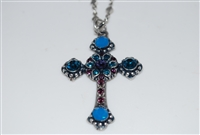 "Long Mariana ""Athena"" Cross Necklace from the Peacock Collection made with Swarovski Crystals and Silver Plated"