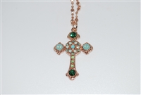 "Long Mariana ""Athena"" Cross Necklace from the Fern Collection made with Swarovski Crystals and Rhodium Plated"