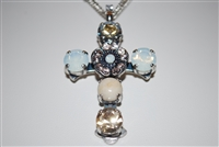 "Mariana ""Daphane"" 19"" Necklace with a Large Cross Pendant with Swarovski Crystals from the Kalahari Collection and .925 Silver Plated"