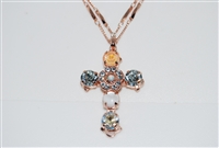 "Long Mariana ""Daphane""  Necklace with a Large Cross Pendant with Swarovski Crystals from the Sweet Pea Collection and Rose Gold Plated"