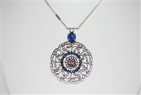 "Mariana ""Wisteria"" 2019 Ocean Nature .925 Silver Plated Filigree Flower Floral Large Statement Swarovski Crystal Pendant Necklace, 30"""