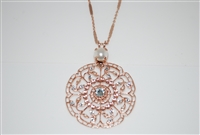 "Mariana ""Wisteria"" Seashell Rose Gold Plated Filigree Flower Floral Large Statement Swarovski Crystal Pendant Necklace, 30"""