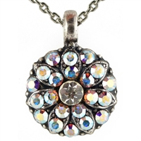 Guardian Angel Pendant Necklace with Clear Aurora Borealis Swarovski Crystals and .925 Silver Plated