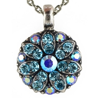 Mariana Guardian Angel Pendant Necklace with Aquamarine Swarovski Crystals and .925 Silver Plated.