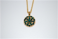 May Birth Month Mariana Guardian Angel Necklace Pendant with Emerald Swarovski Crystals and Yellow Gold Plated