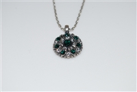 Mariana Guardian Angel Necklace Pendant with Emerald and Clear/MOL Swarovski Crystal in Antiqued Silver Plated