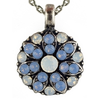 Mariana Guardian Angel Pendant Necklace with White Opal and Blue Opal Swarovski Crystals and .925 Silver Plated.