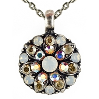 Mariana Guardian Angel Necklace Pendant with Clear, and  Clear Aurora Borealis Topaz Swarovski Crystals and .925 Silver Plated.