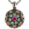 Mariana Guardian Angel Necklace Pendant with Pacific Opal, Green, and Light Rose Swarovski Crystals and .925 Silver Plated