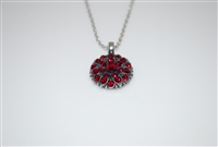 Mariana January Guardian Angel Pendant Necklace with Garnet Swarovski Crystals and .925 Silver Plated.