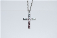 "Mariana ""Chapel Pendant"" 16"" Necklace with Cross Pendant with Swarovski Crystals from the Snowflake Collection and Rhodium Plated"