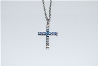 "Mariana ""Chapel Pendant"" 16"" Necklace with Cross Pendant with Swarovski Crystals from the Italian Ice Collection and Rhodium Plated"