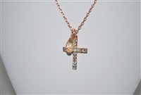 "Mariana ""Chapel Pendant"" 16"" Necklace with Cross Pendant with Swarovski Crystals from the Seashell Collection and Rose Gold Plated"