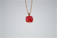 "Mariana ""Bijou"" 15"" Red Shadow Swarovski Crystal Pendant Necklace with 18"" chain and Rose Gold Plated"