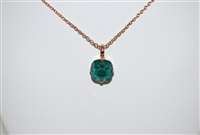 "Mariana ""Bijou"" 15"" Green Swarovski Crystal Pendant Necklace with 18"" chain and Rose Gold Plated from the Fern Collection"