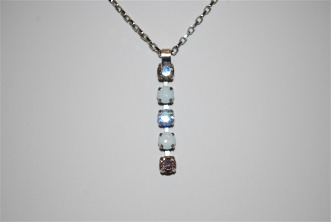 "Mariana ""Fountain"" strand necklace from Kalahari Collection made of 5 Swarovski Crystals and .925 Silver Plated"
