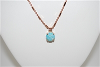 "Mariana Green Opal Pendant with Swarovski Crystals with 16"" chain and Rose Gold Plated"