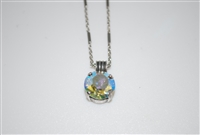 "Mariana Pendant with Clear AB Swarovski Crystal with 16"" chain and .925 Silver Plated"
