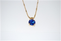 "Mariana Pendant with Sapphire Swarovski Crystal with 16"" chain and .925 Yellow Gold Plating"