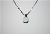 "Mariana Pendant with Synthetic White Opal with 16"" chain and .925 Silver Plated"